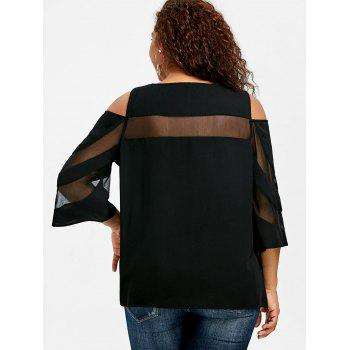 Plus Size Cold Shoulder Mesh Insert Top - BLACK 2XL