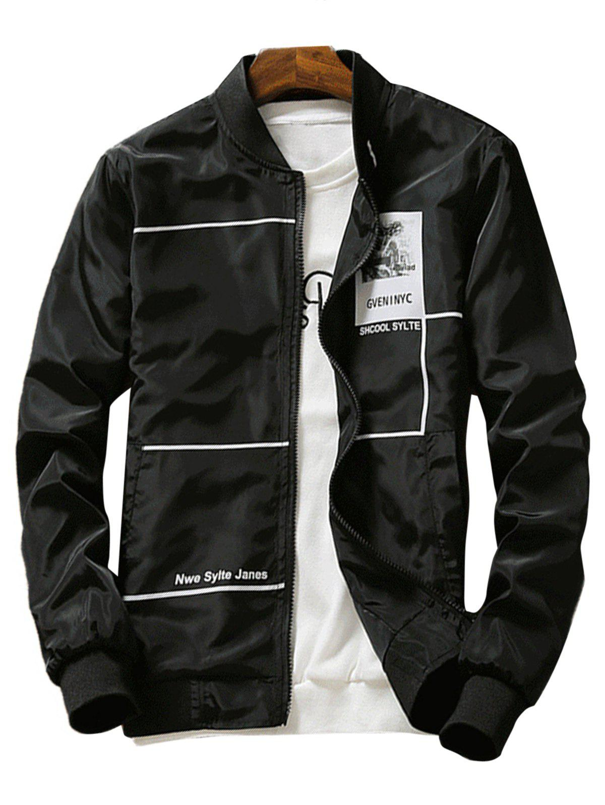 Graphic Print Lightweight Zip Up Jacket - BLACK 3XL