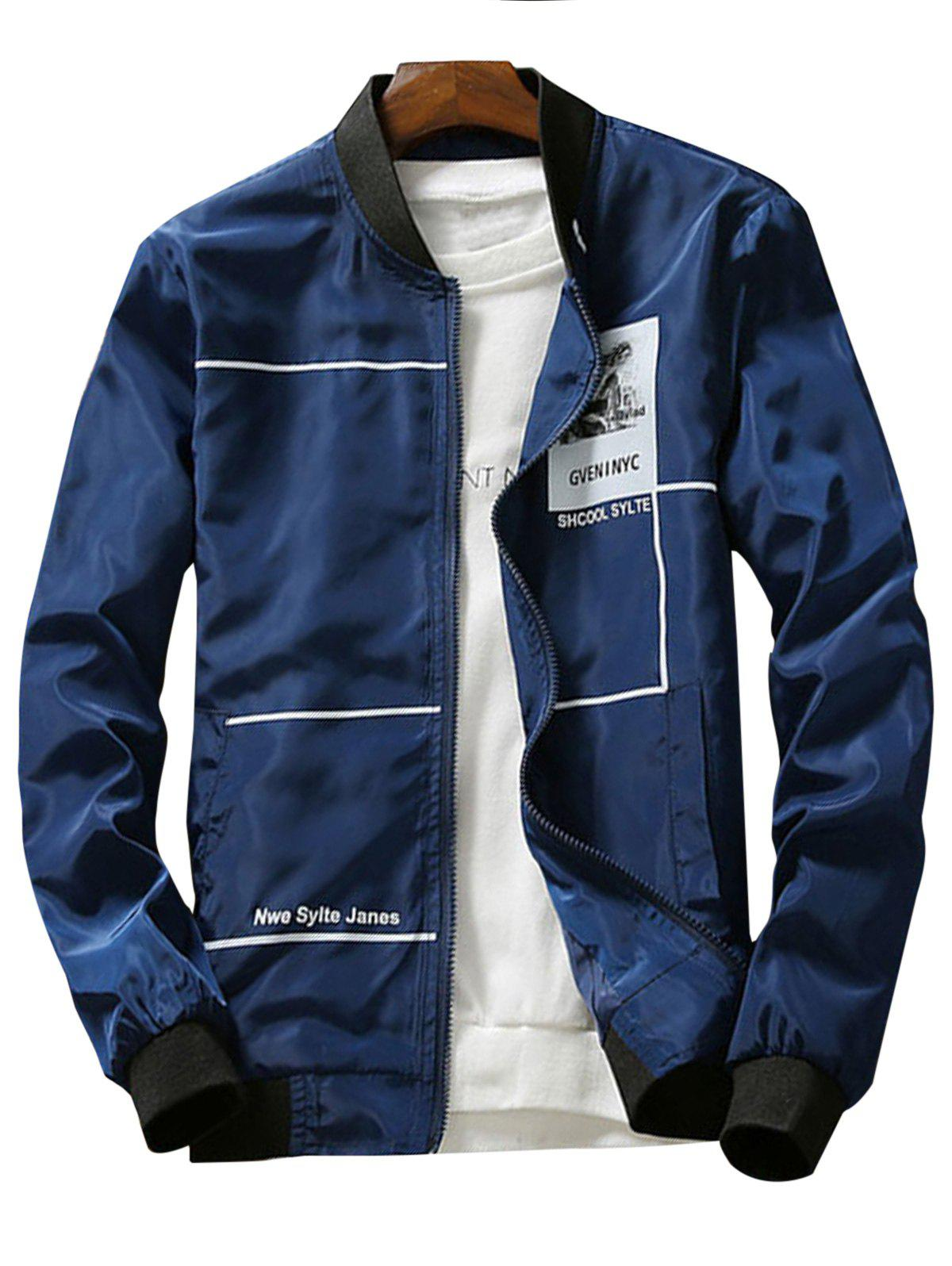 Graphic Print Lightweight Zip Up Jacket - CADETBLUE XL