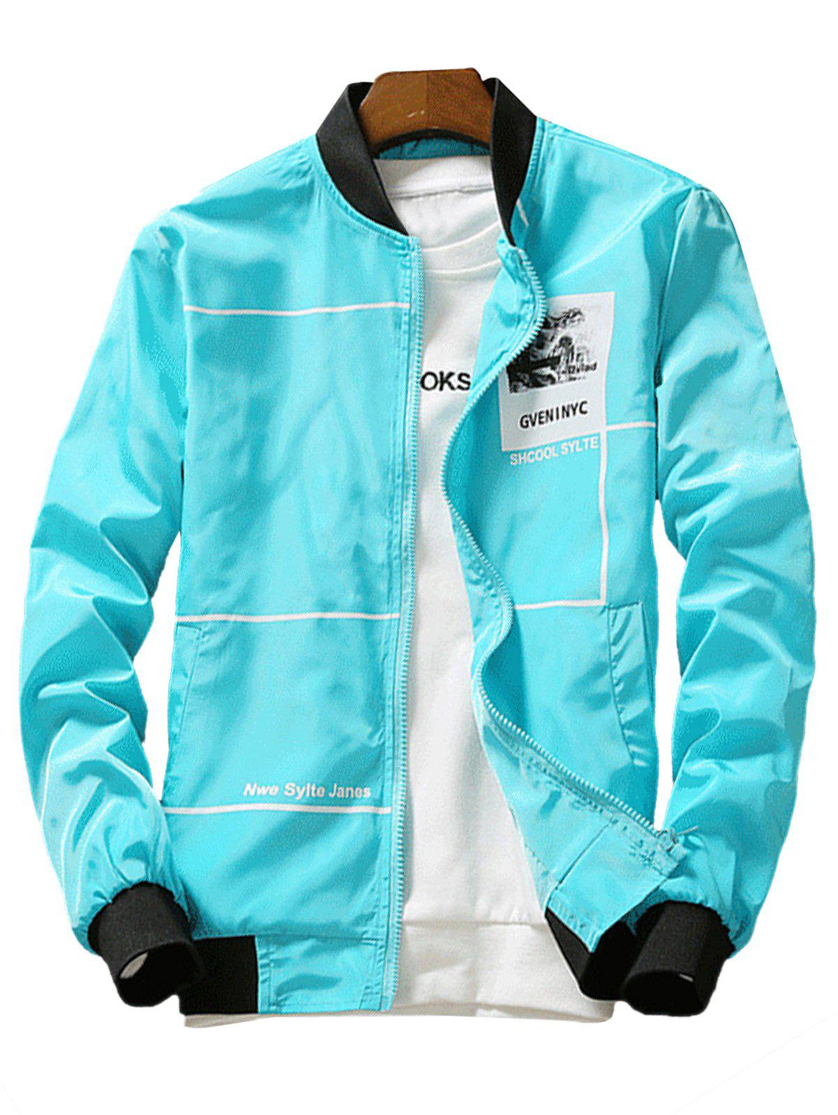 Graphic Print Lightweight Zip Up Jacket - AZURE 2XL