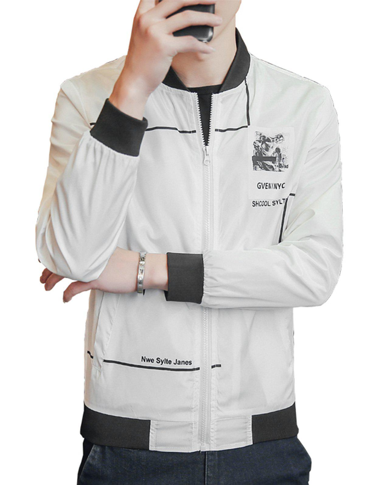 Graphic Print Lightweight Zip Up Jacket - WHITE 4XL