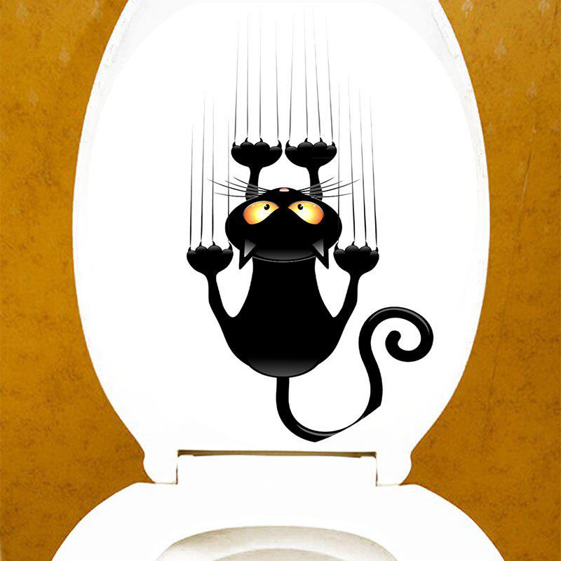 Climbing Cat Print Bathroom Decor Toilet Sticker - BLACK 12.6*15.4 INCH