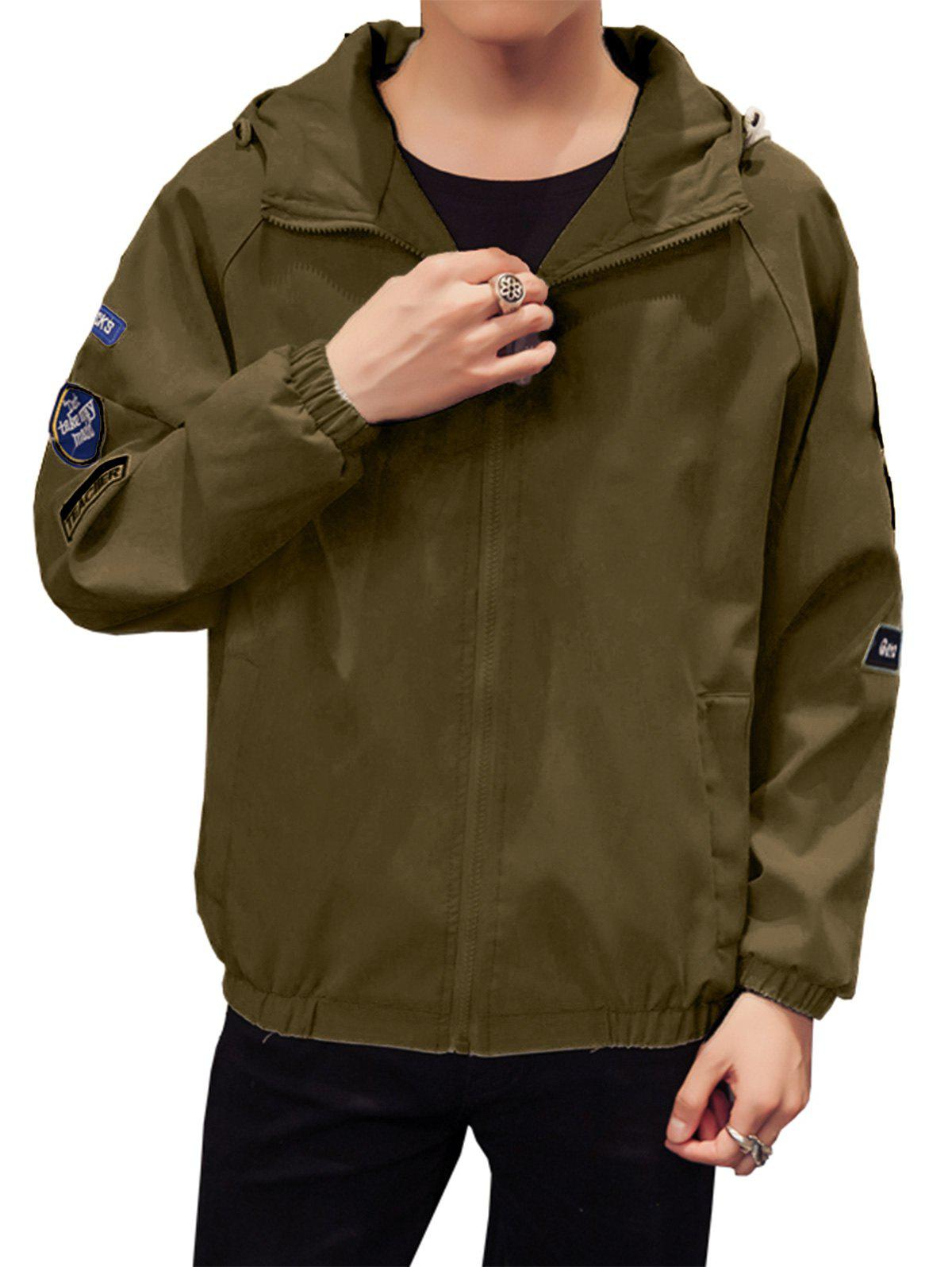 Appliques Zip Up Raglan Sleeve Jacket - ARMY GREEN L