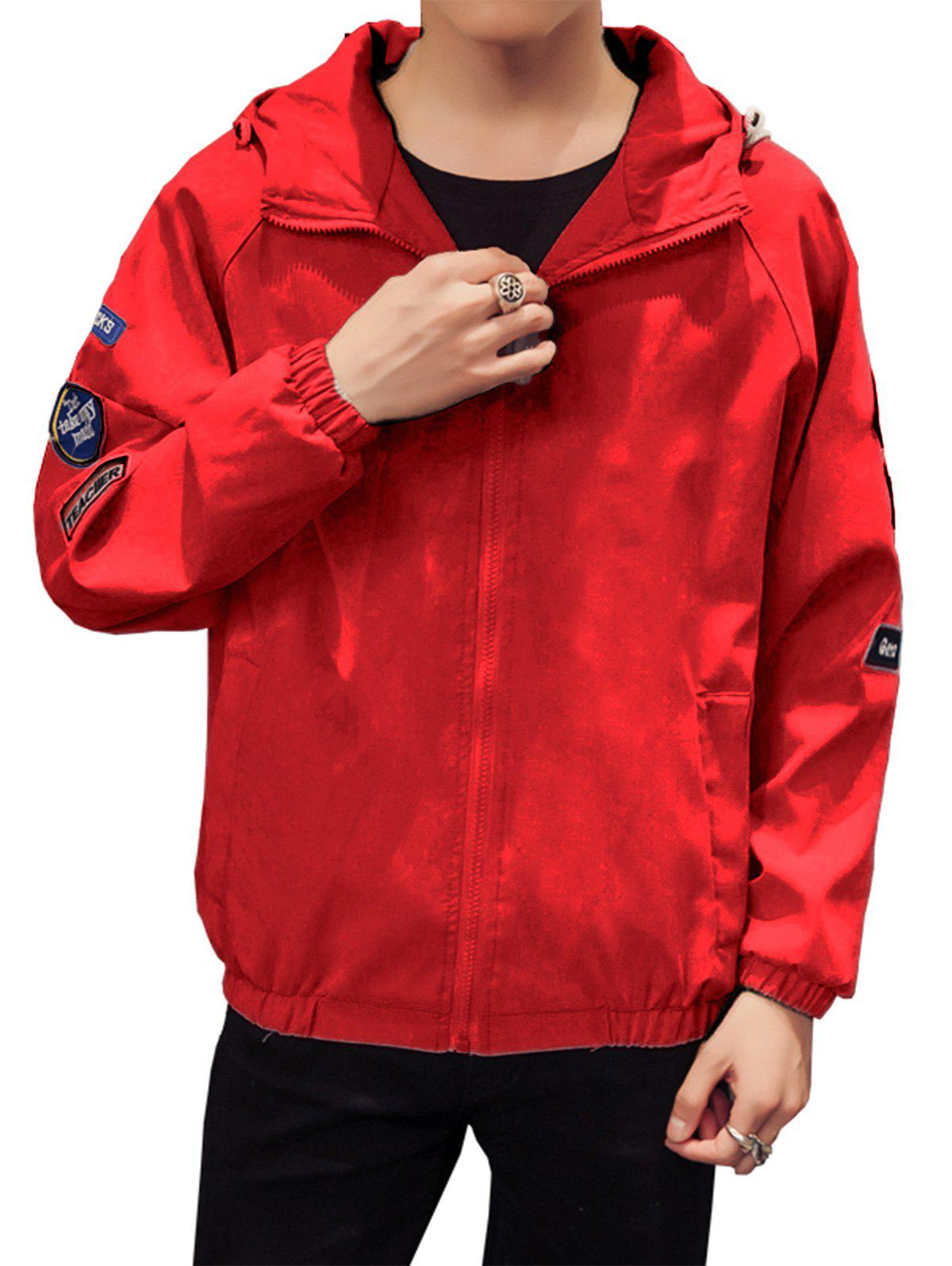 Appliques Zip Up Raglan Sleeve Jacket - RED 2XL