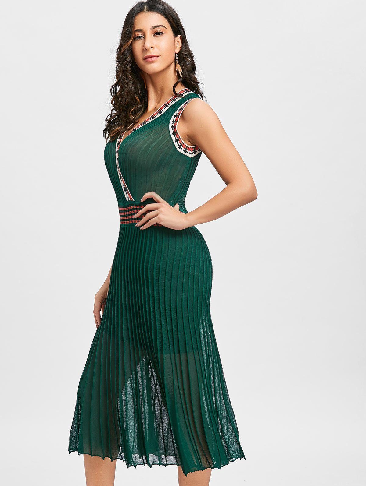 Plunging Neckline Pleated Midi Dress - GREEN ONE SIZE