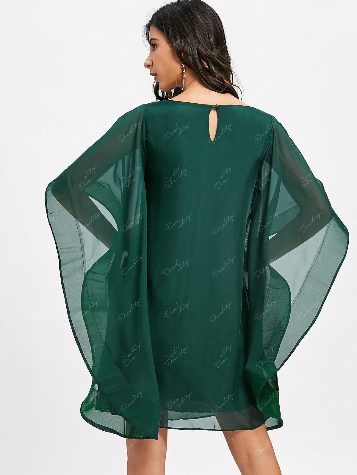 Bell Sleeve Chiffon Shift Mini Dress - GREEN M