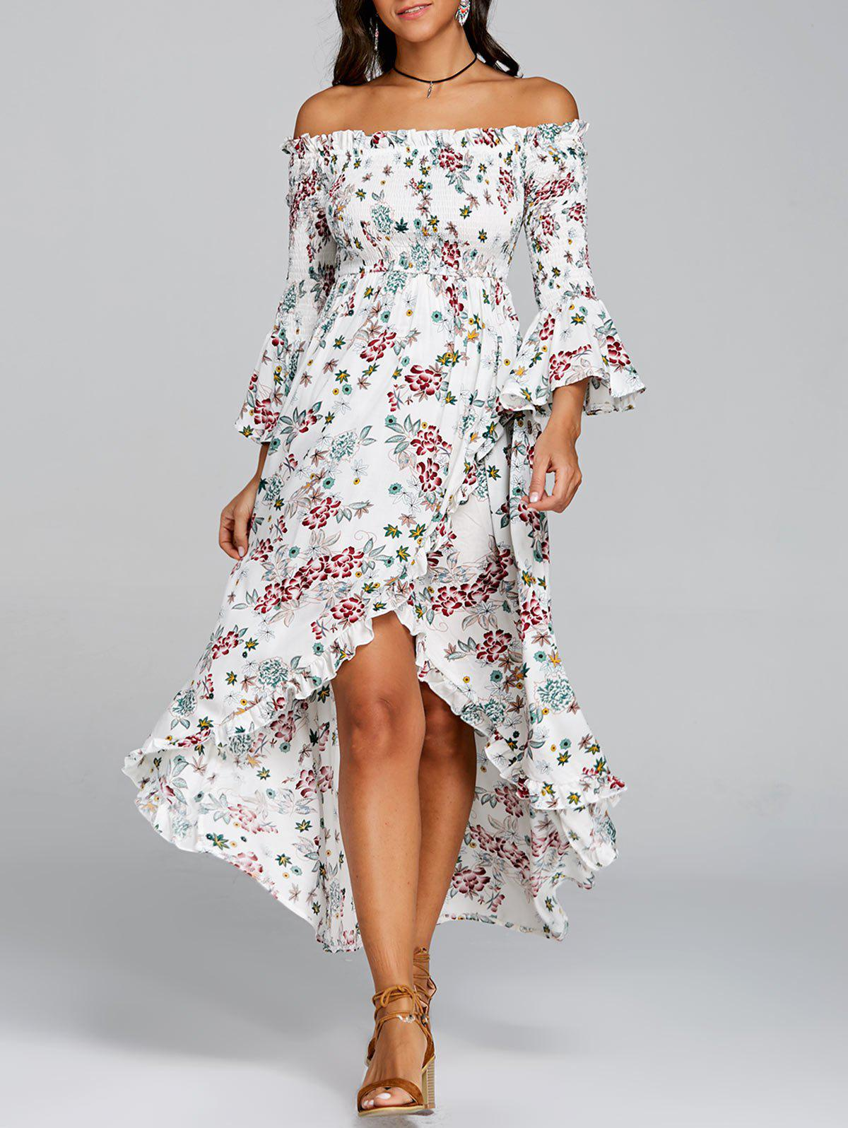 Floral Print Off The Shoulder Midi Dress - WHITE L