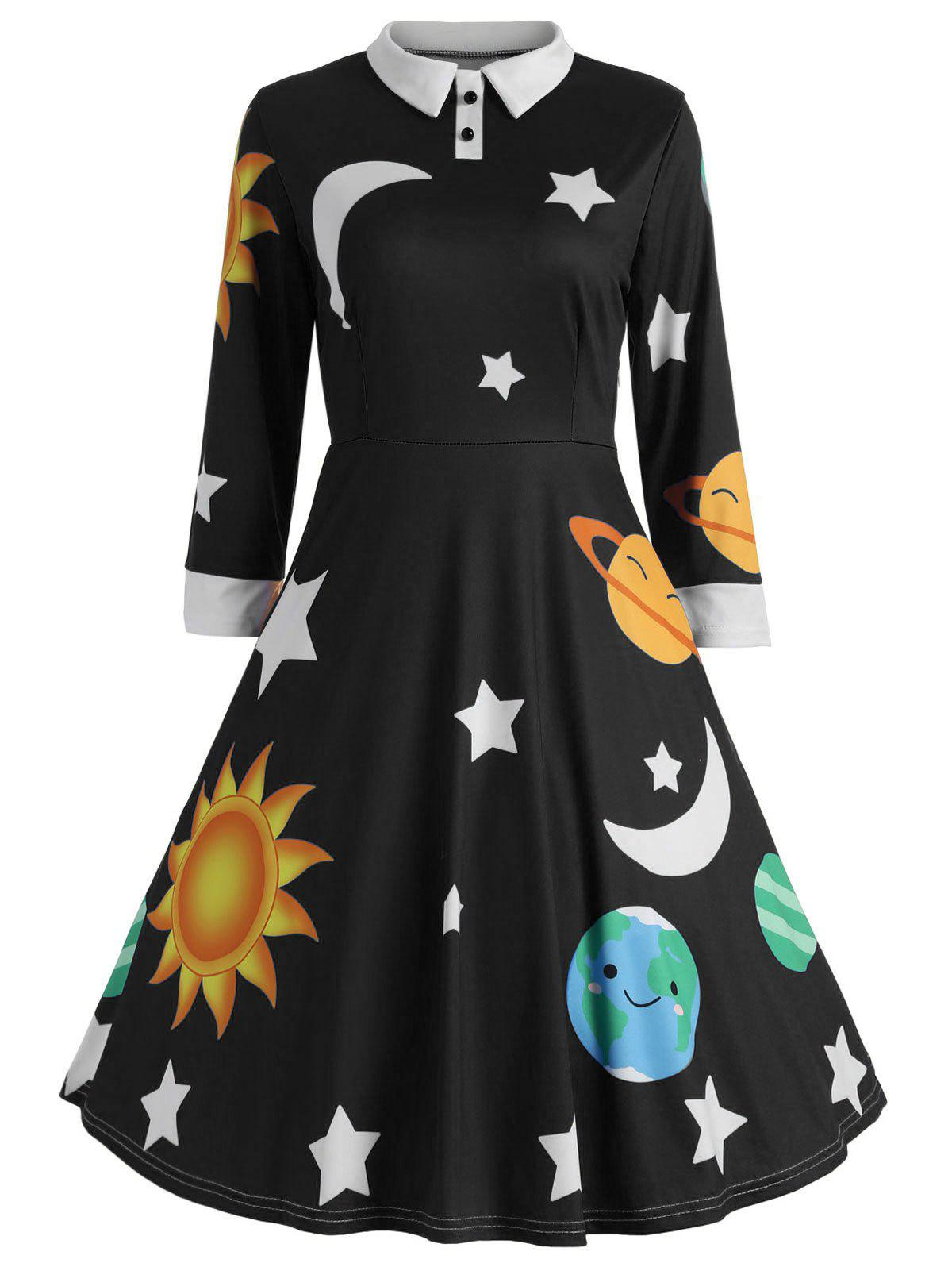 Sun and Moon Print Flare Vintage Dress - BLACK XL