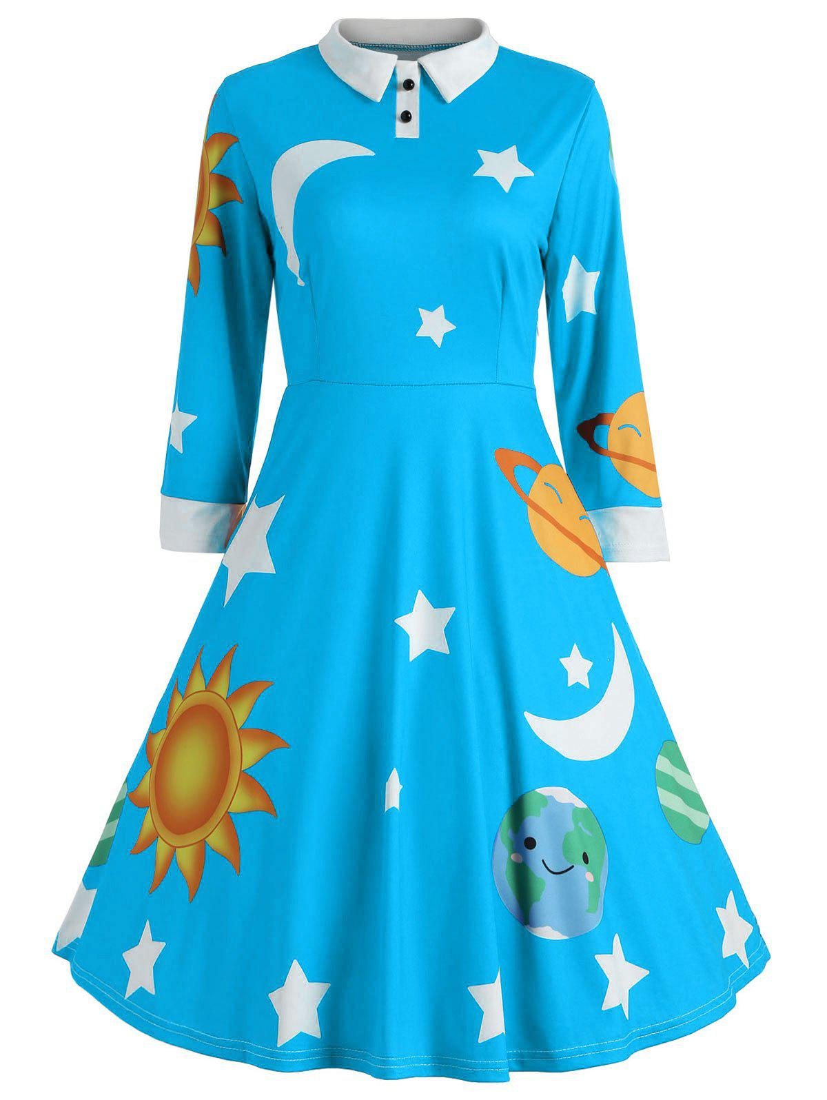Sun and Moon Print Flare Vintage Dress - LAKE BLUE S