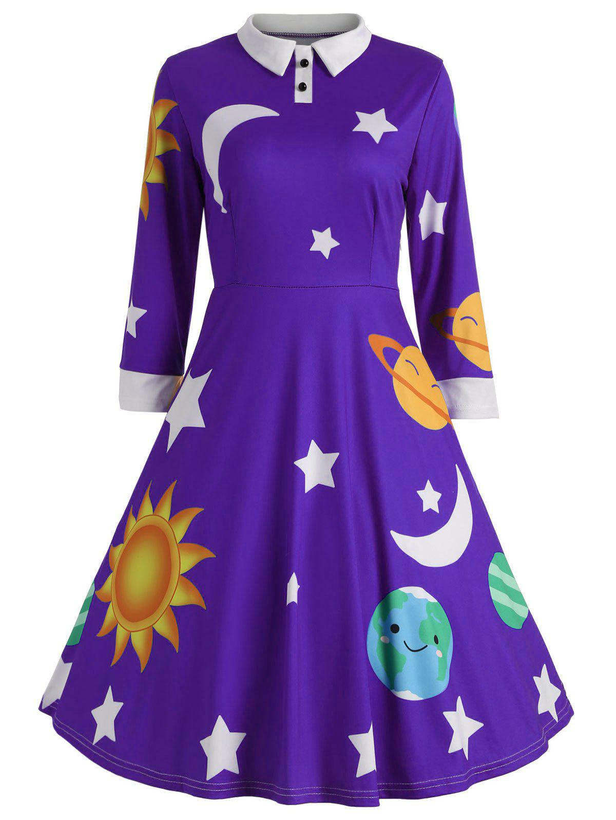 Sun and Moon Print Flare Vintage Dress - PURPLE XL