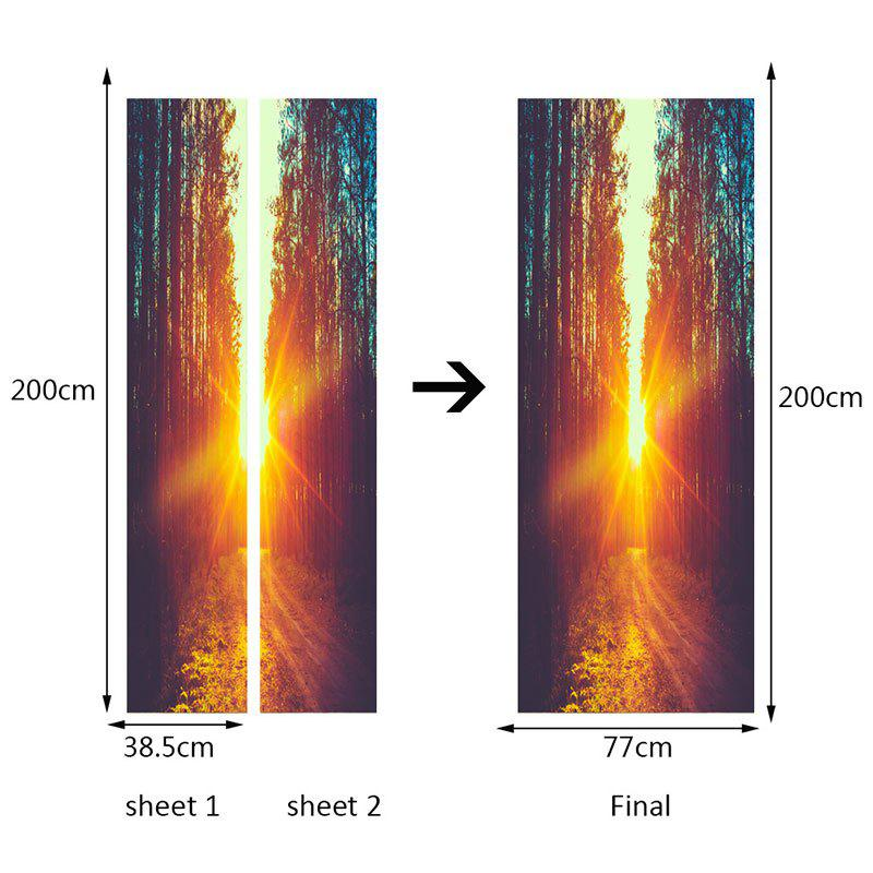 Sunlight Forest Pathway Printed Door Stickers - COLORFUL 38.5*200CM*2PCS