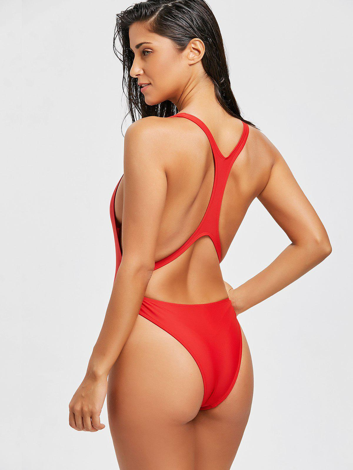 Bralette Backless Monokini Swimsuit - RED L