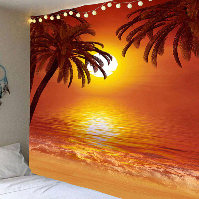 Wall Art Decor Sunset Coconut Trees Pattern Waterproof Hanging Tapestry waterproof swans cascade trees wall tapestry