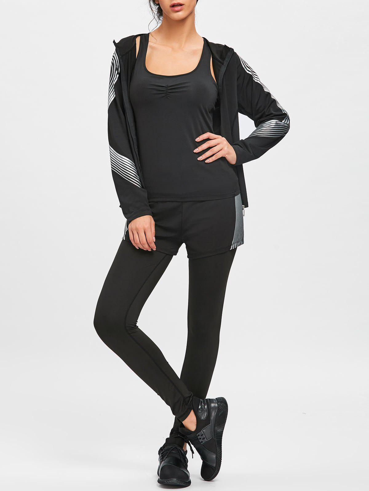 Six Pieces Striped Sports Suit - BLACK M
