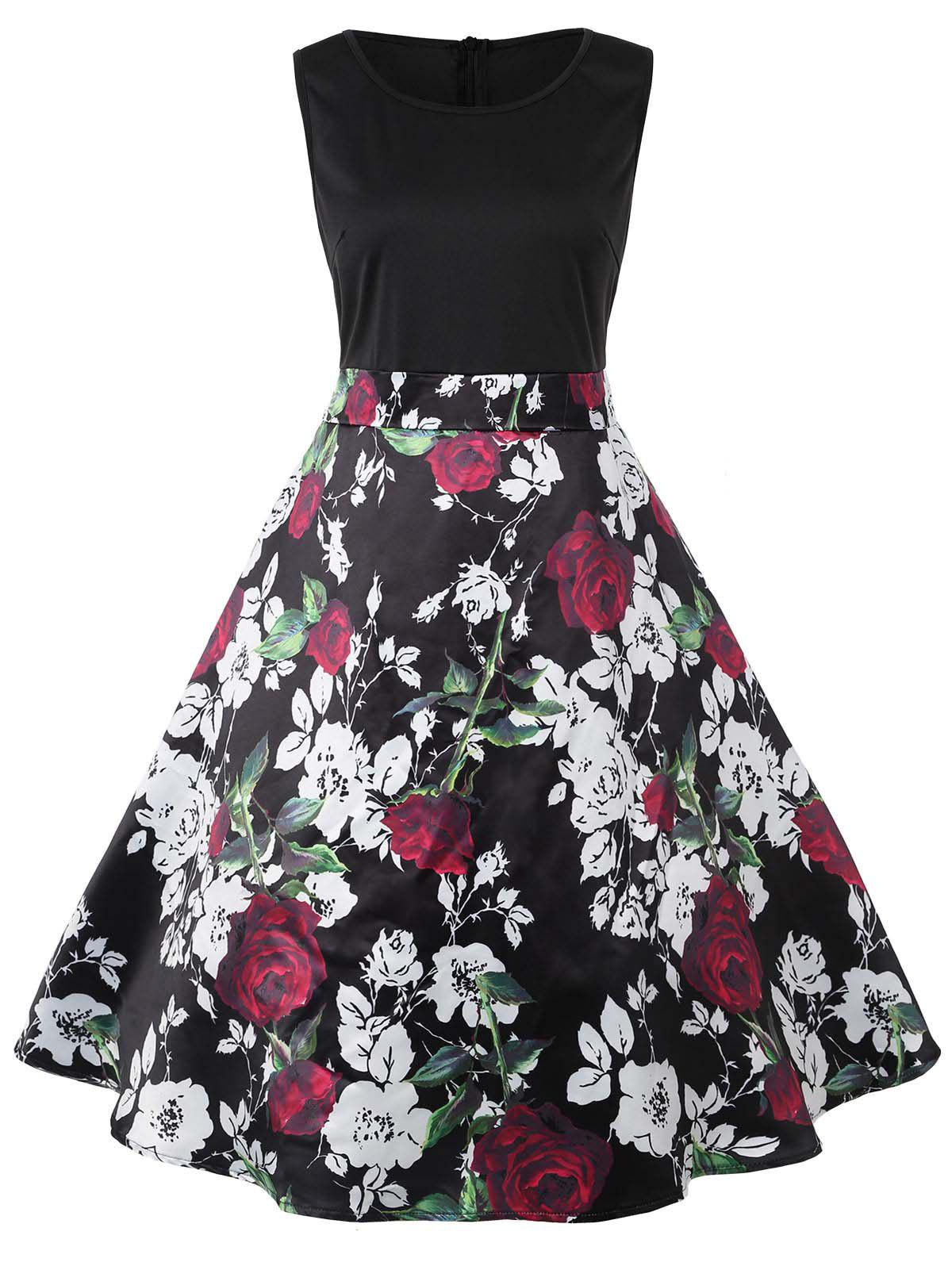 Valentines Day Roses Printed Sleeveless Flare Dress