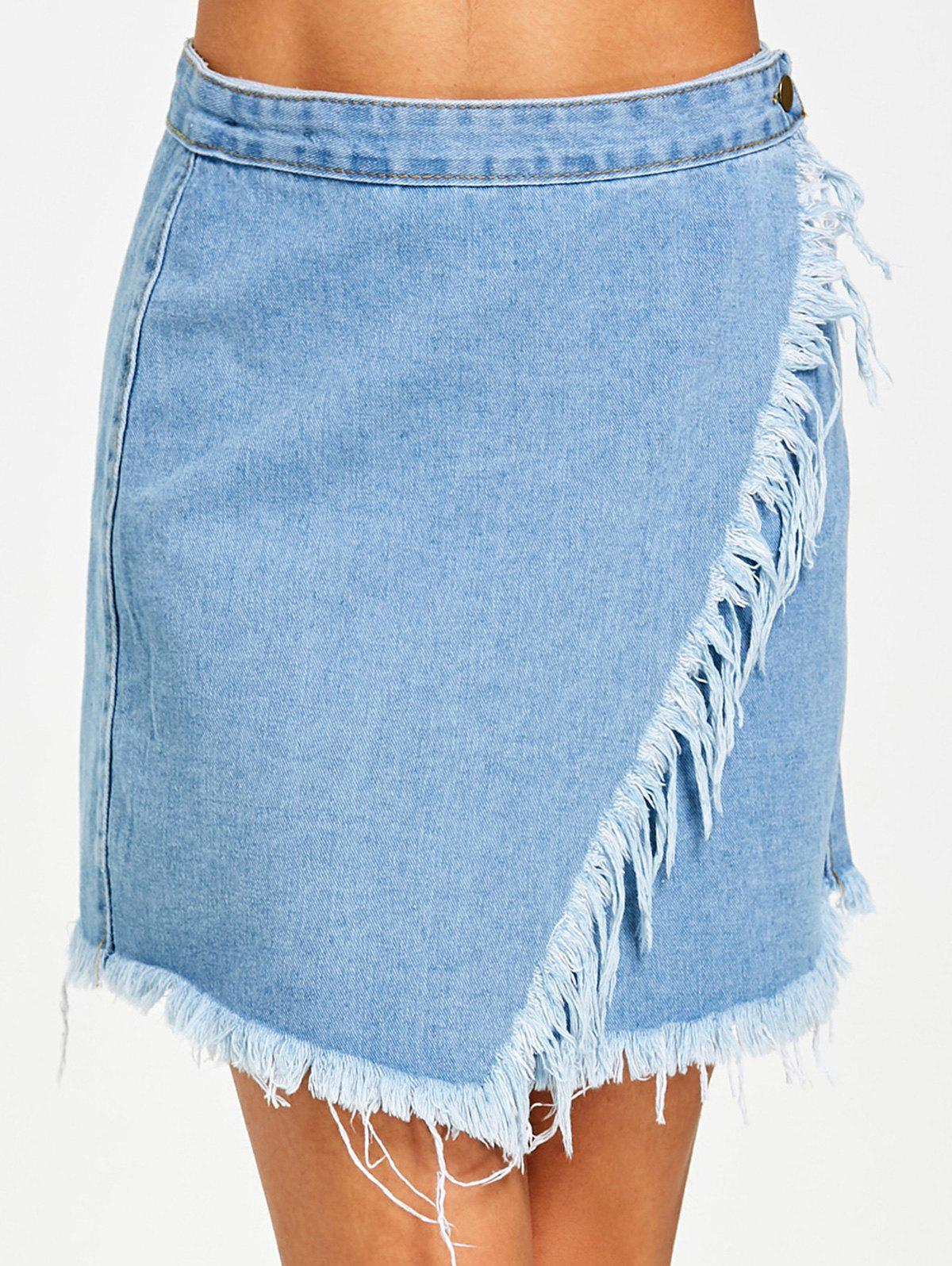 Button Fly Frayed Hem Jean Skirt - DENIM BLUE S