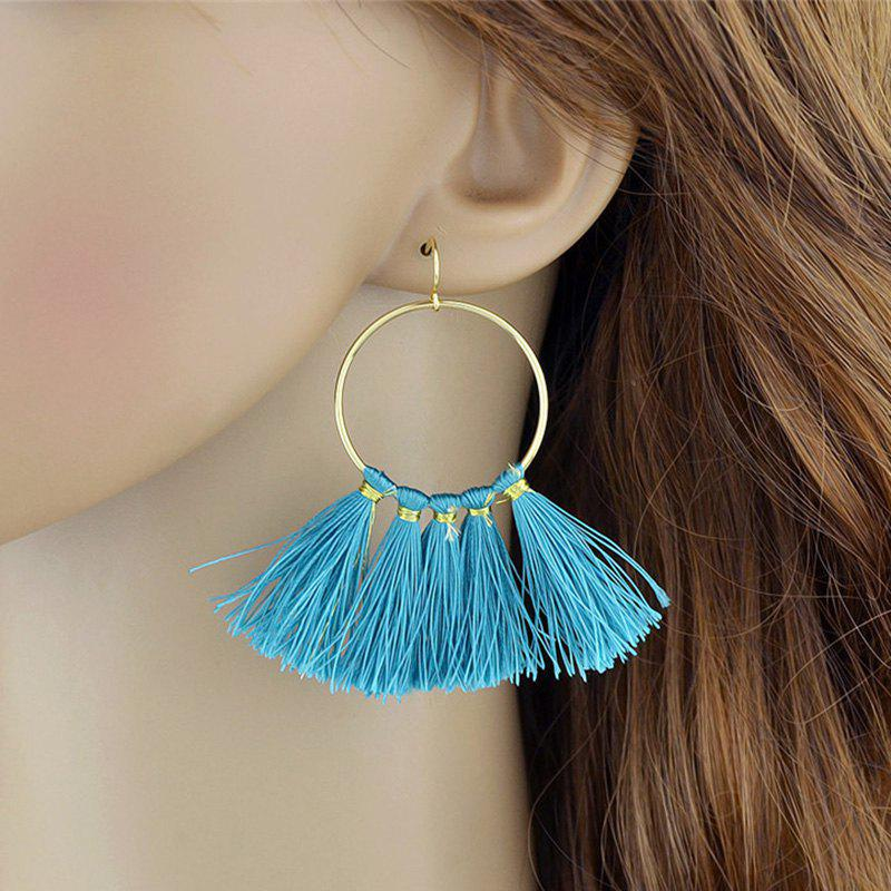 Alloy Hoop Tassel Hoop Dangle Earrings - BLUE