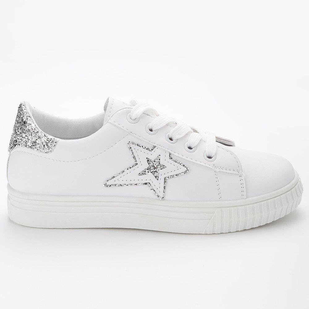 Star Glitter PU Leather Skate Shoes - WHITE 38