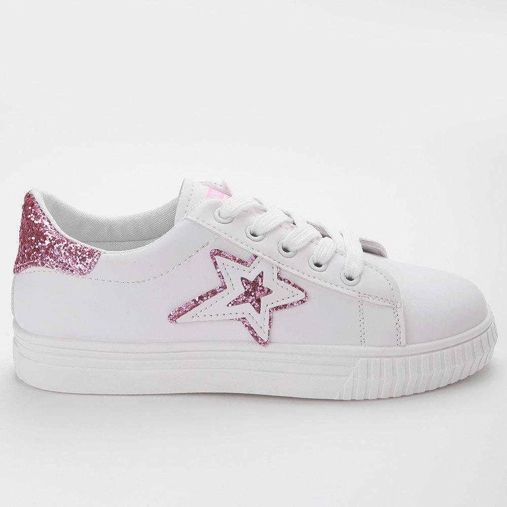 Star Glitter PU Leather Skate Shoes - PAPAYA 40