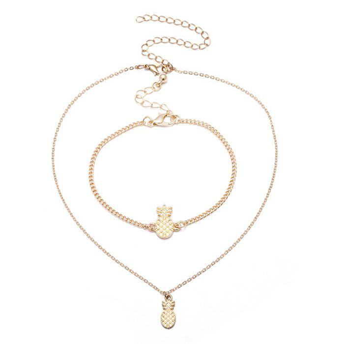 Cute Pineapple Chain Bracelet with Necklace Set - GOLDEN