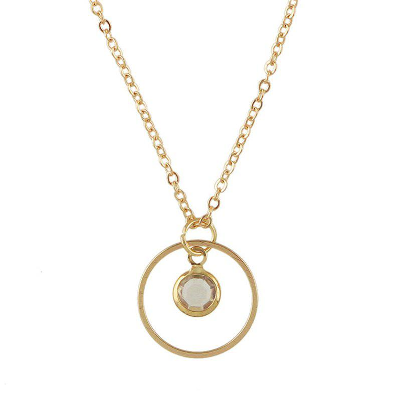Hollow Out Round Faux Crystal Metal Necklace hollow out round faux crystal metal necklace