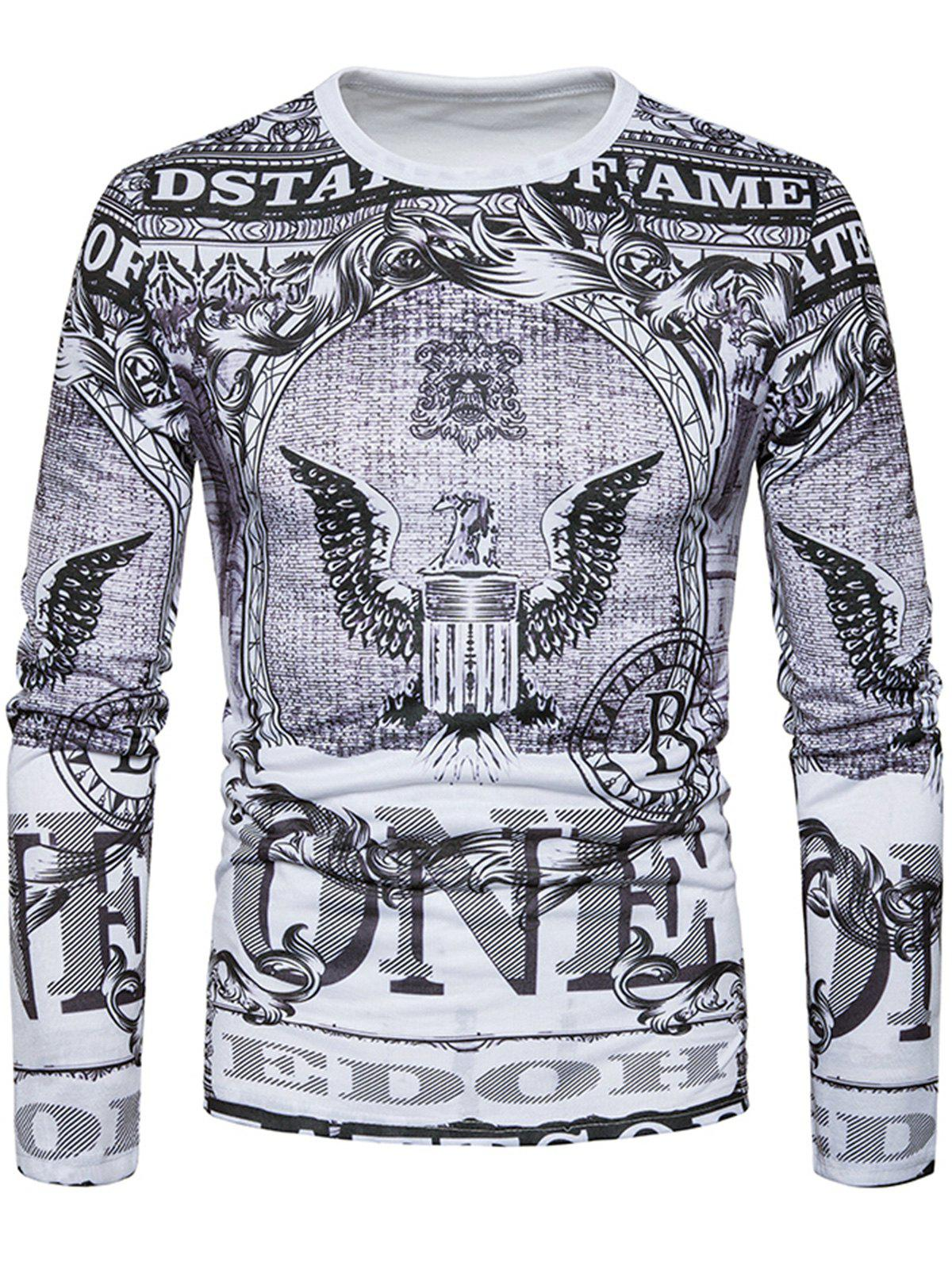Long Sleeve Eagle Graphic Print T-shirt turndown collar long sleeve eagle graphic print cool shirt