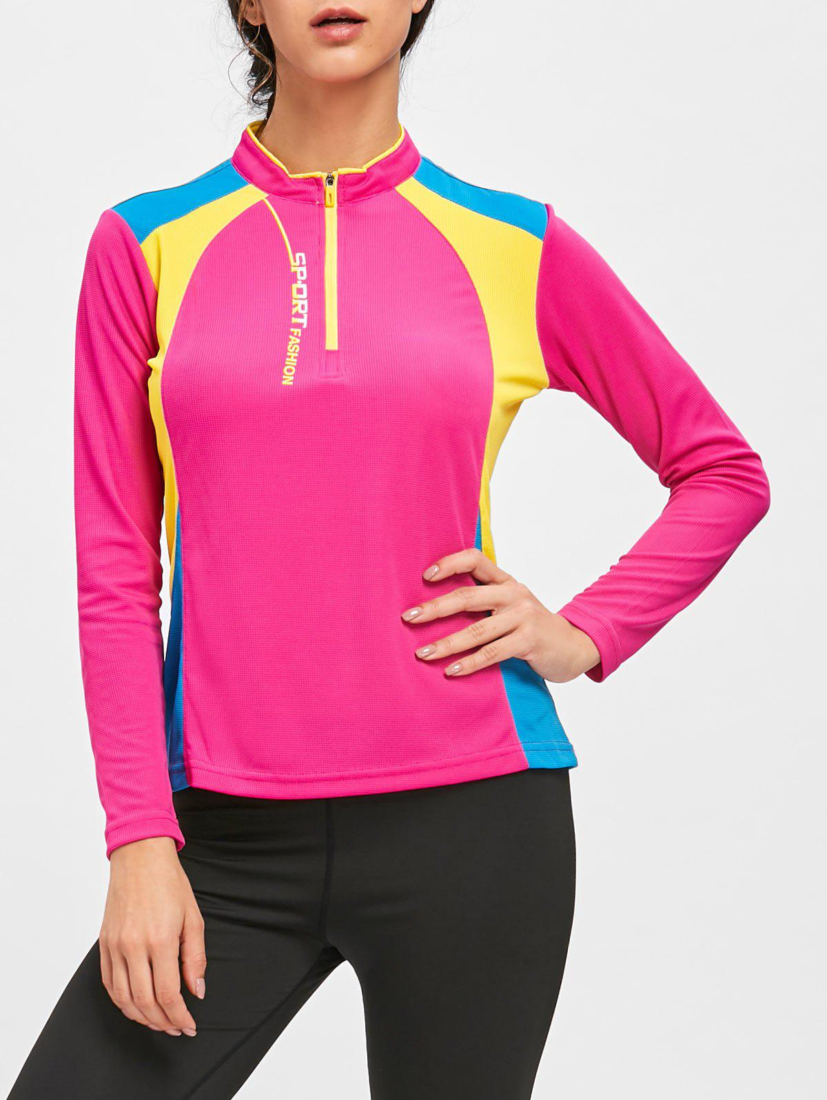Half Zip Hit Color Cycling T-shirt - TUTTI FRUTTI XL
