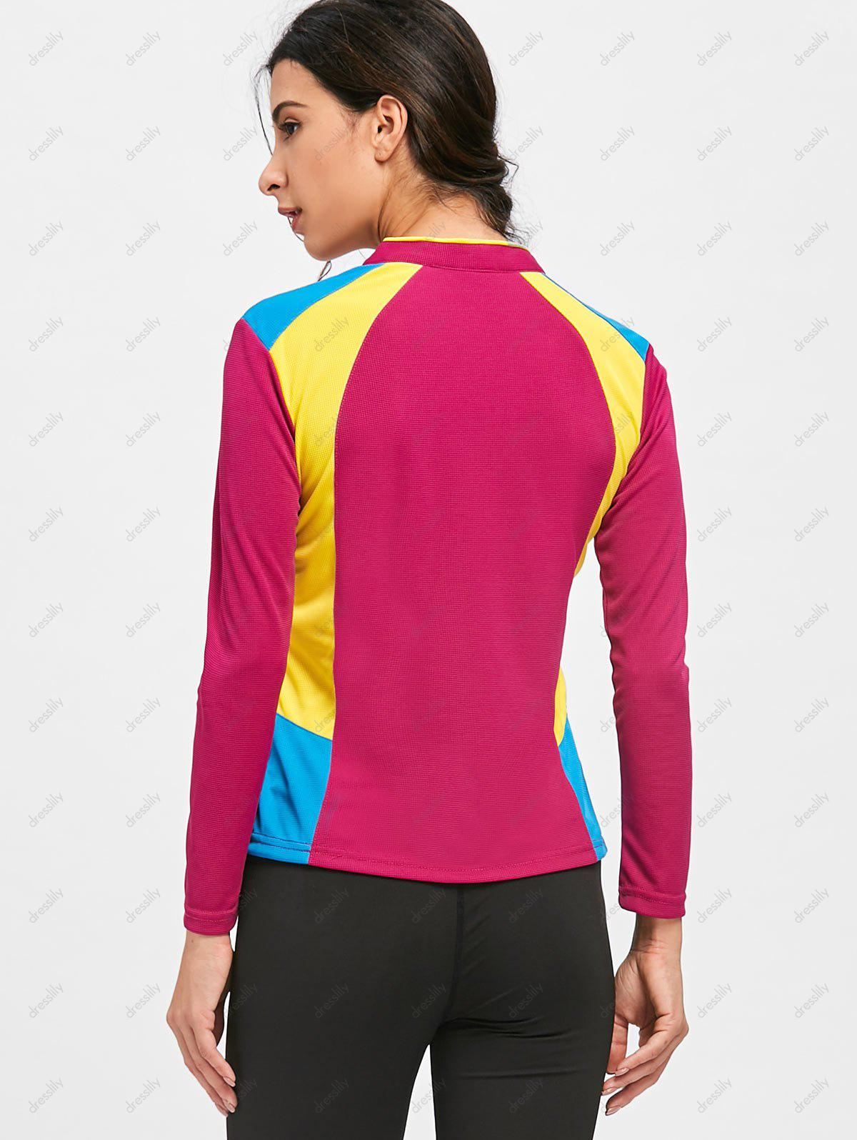 Half Zip Hit Color Cycling T-shirt - DEEP RED M