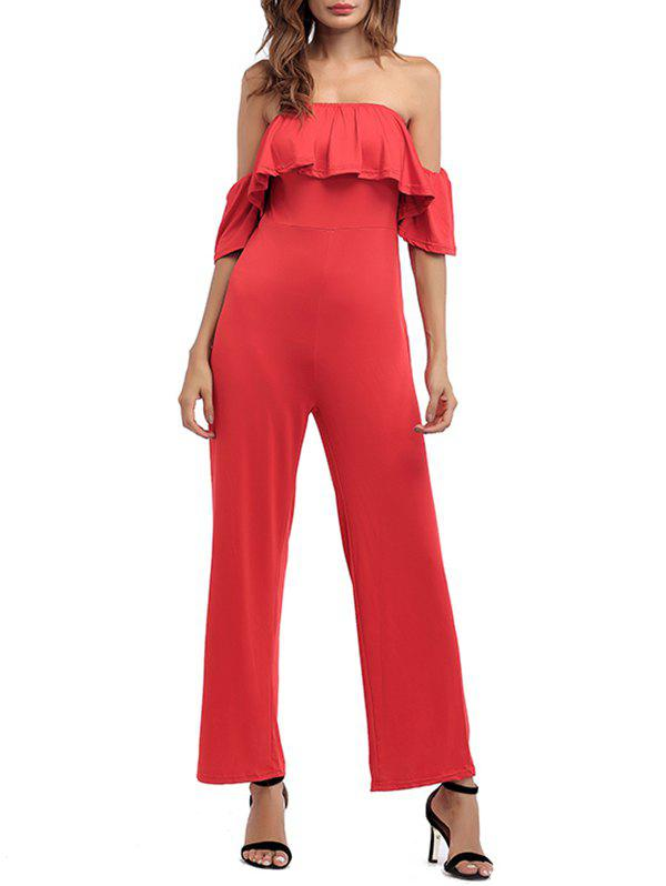 Off The Shoulder Wide Leg Jumpsuit - RED S