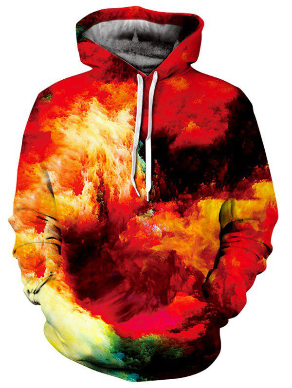 Pullover Kangaroo Pocket Burning Clouds Hoodie - RED 3XL