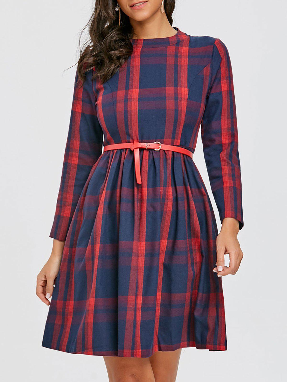 Plaid Mini A Line Dress plaid mini a line dress