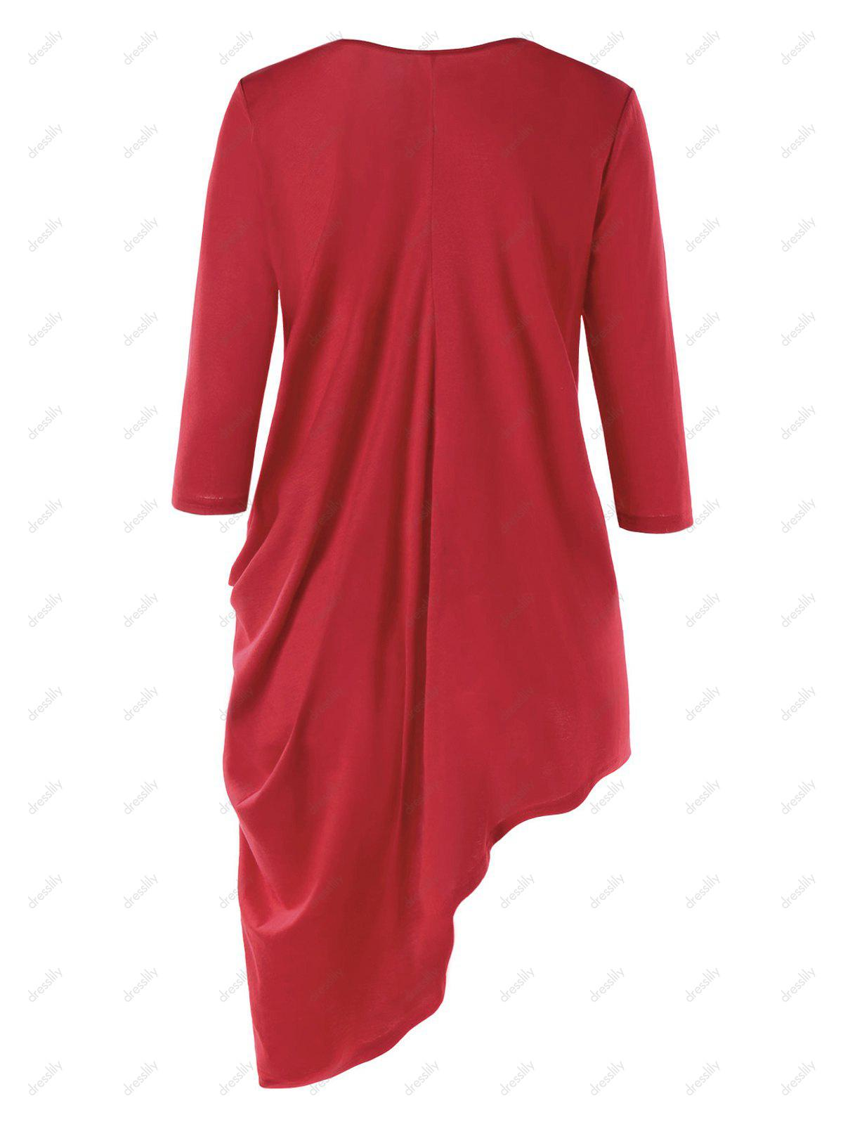 Three Quarter Sleeve Asymmetric Tunic Top - RED M
