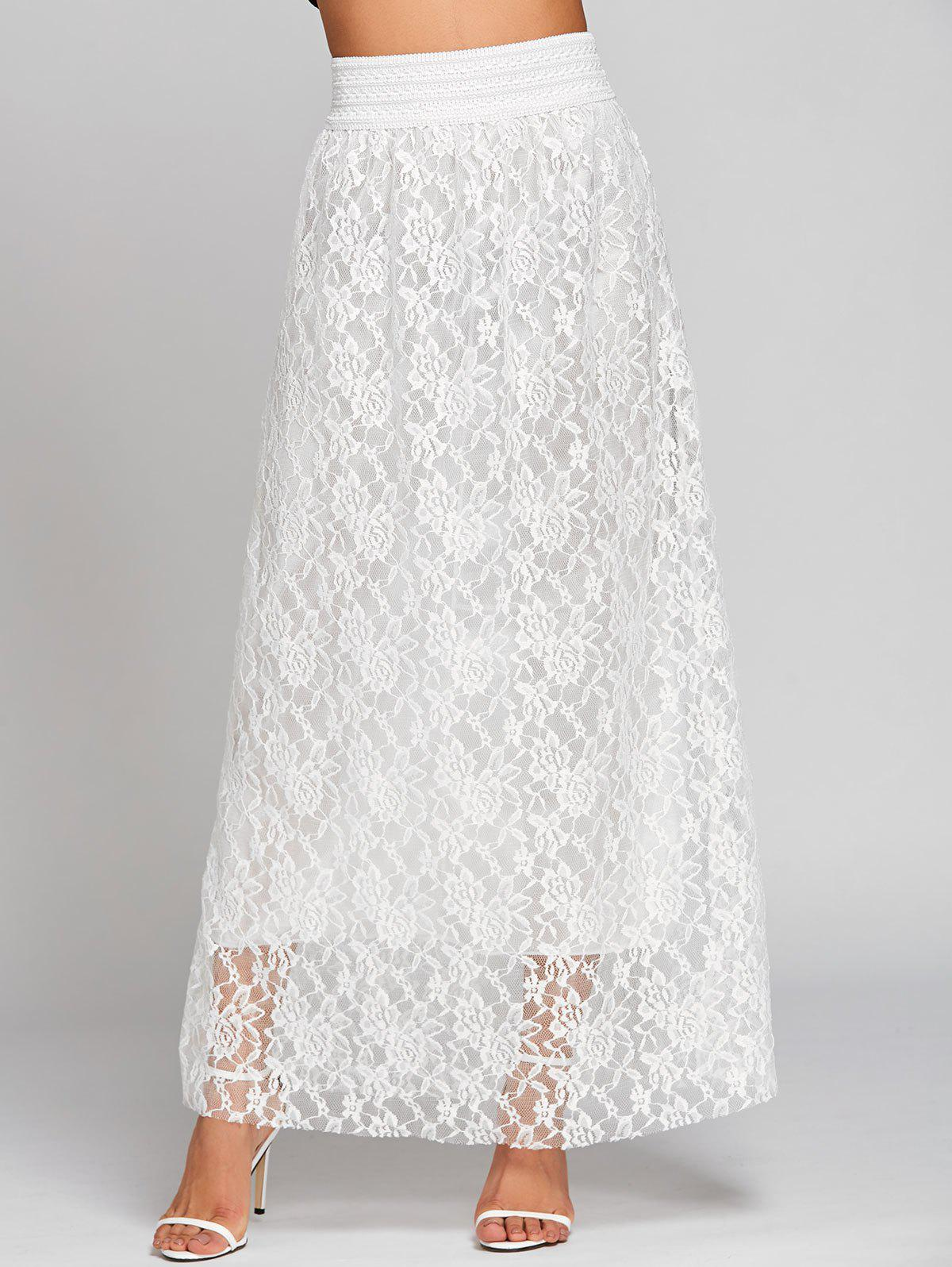 High Waist Lace Maxi Skirt - WHITE XL