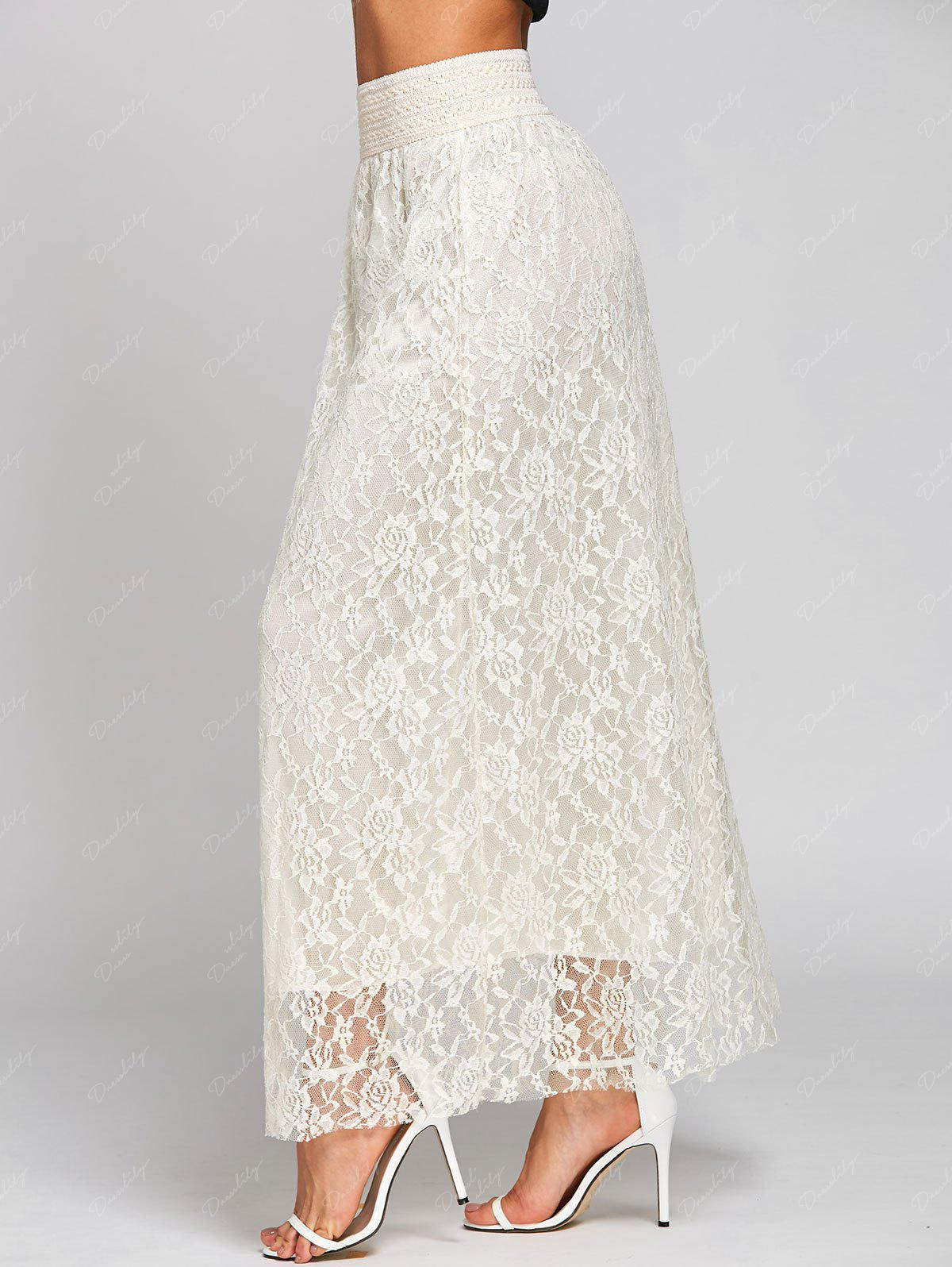 High Waist Lace Maxi Skirt - OFF WHITE XL
