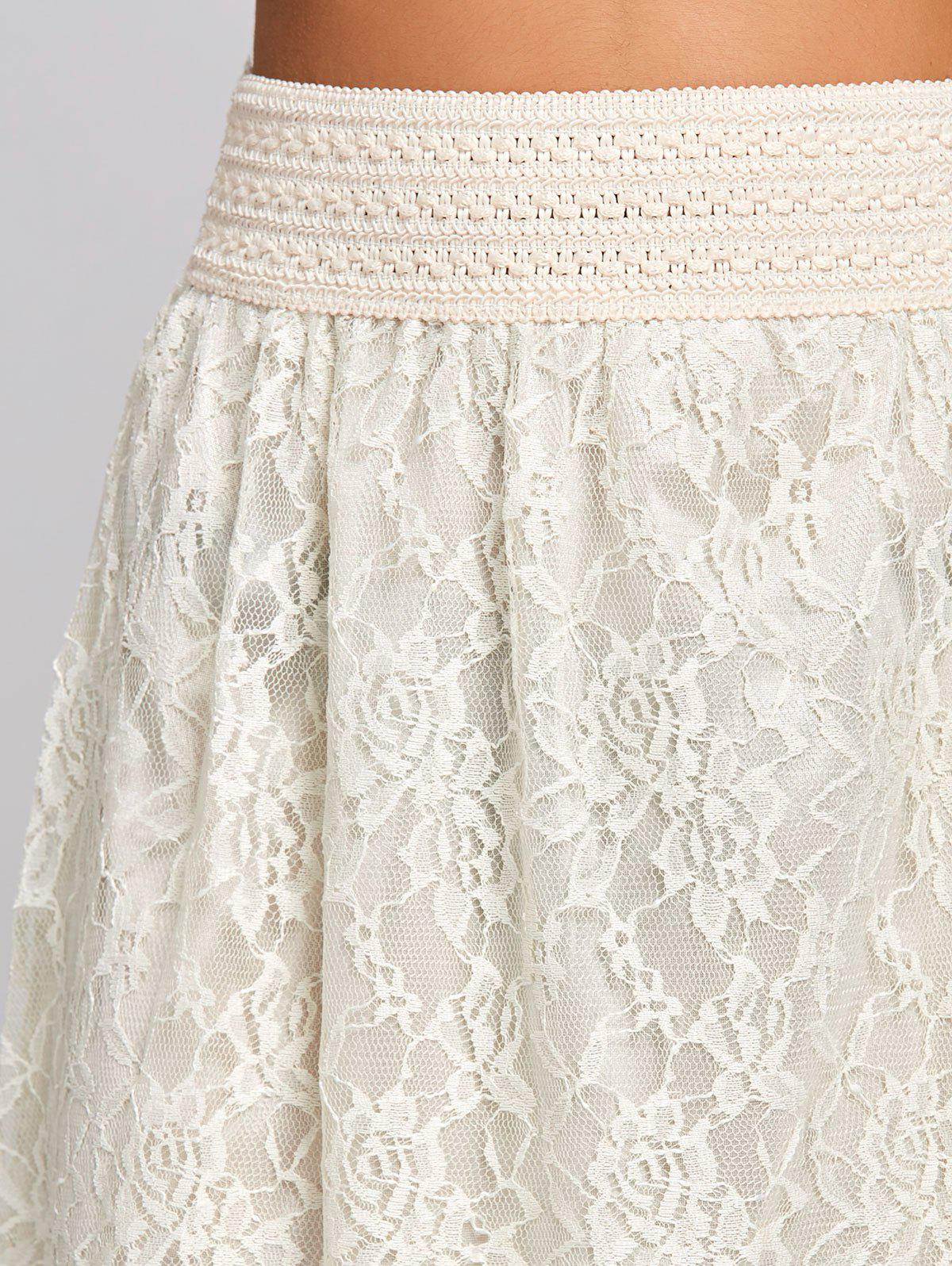 High Waist Lace Maxi Skirt - OFF WHITE L