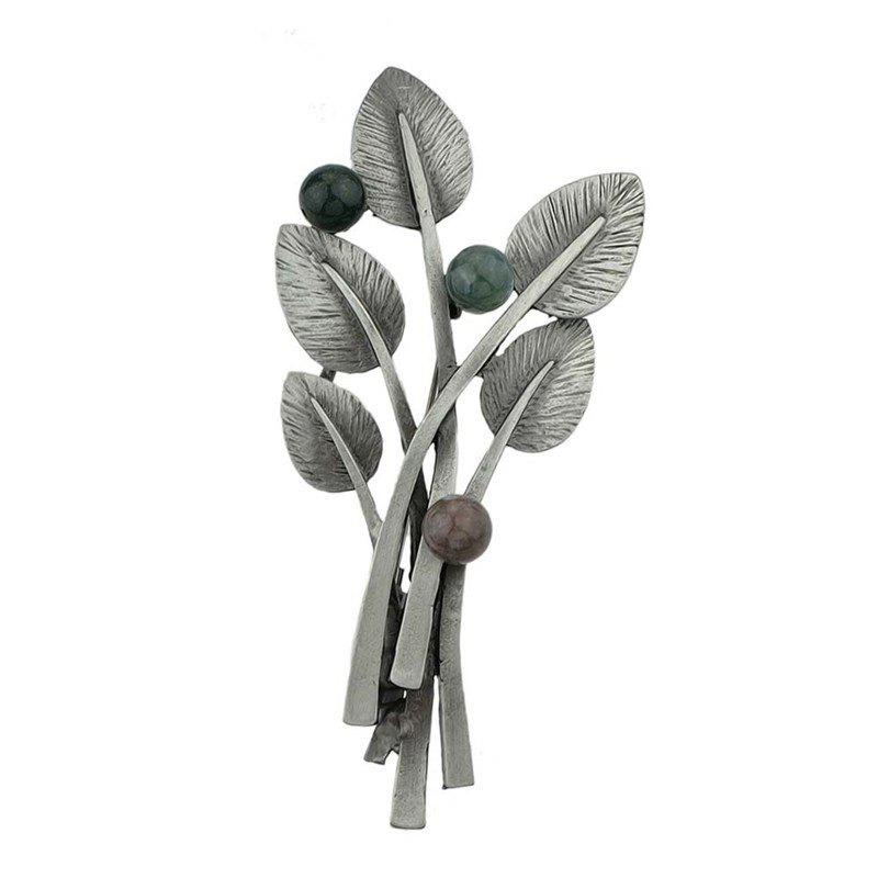 Elliptical Leaves and Beaded Decor Metal Brooch Pin - BLACK