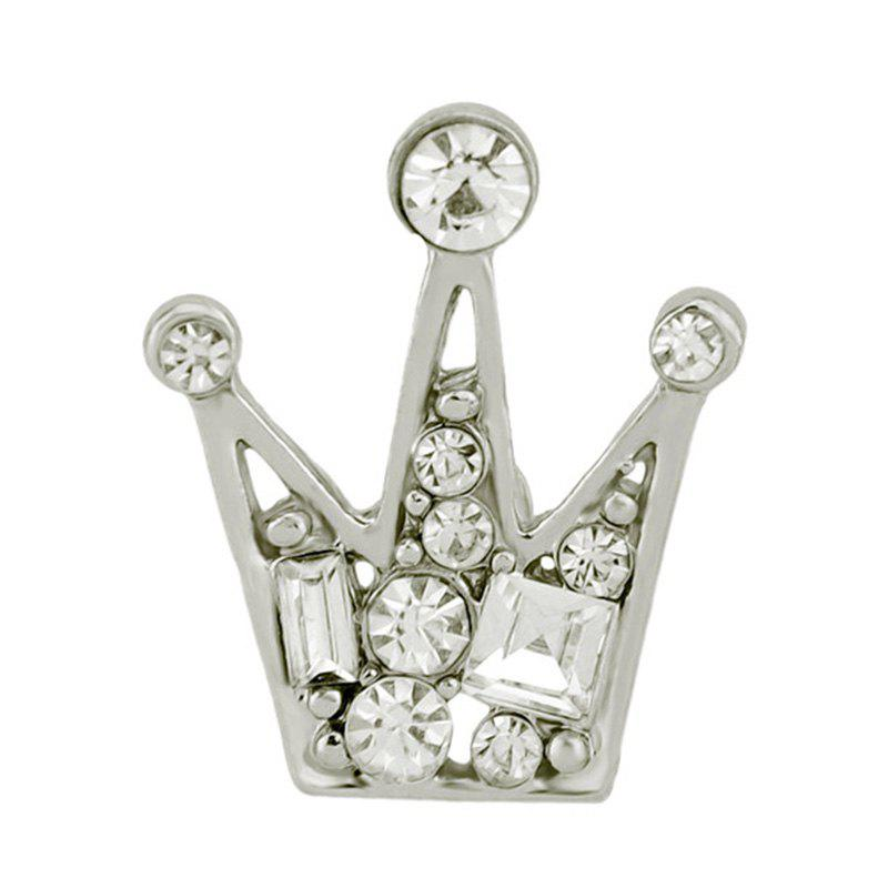 Various Faux Diamond Inlay Crown Brooch Pin - SILVER