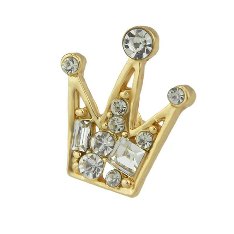 Various Faux Diamond Inlay Crown Brooch Pin - GOLDEN