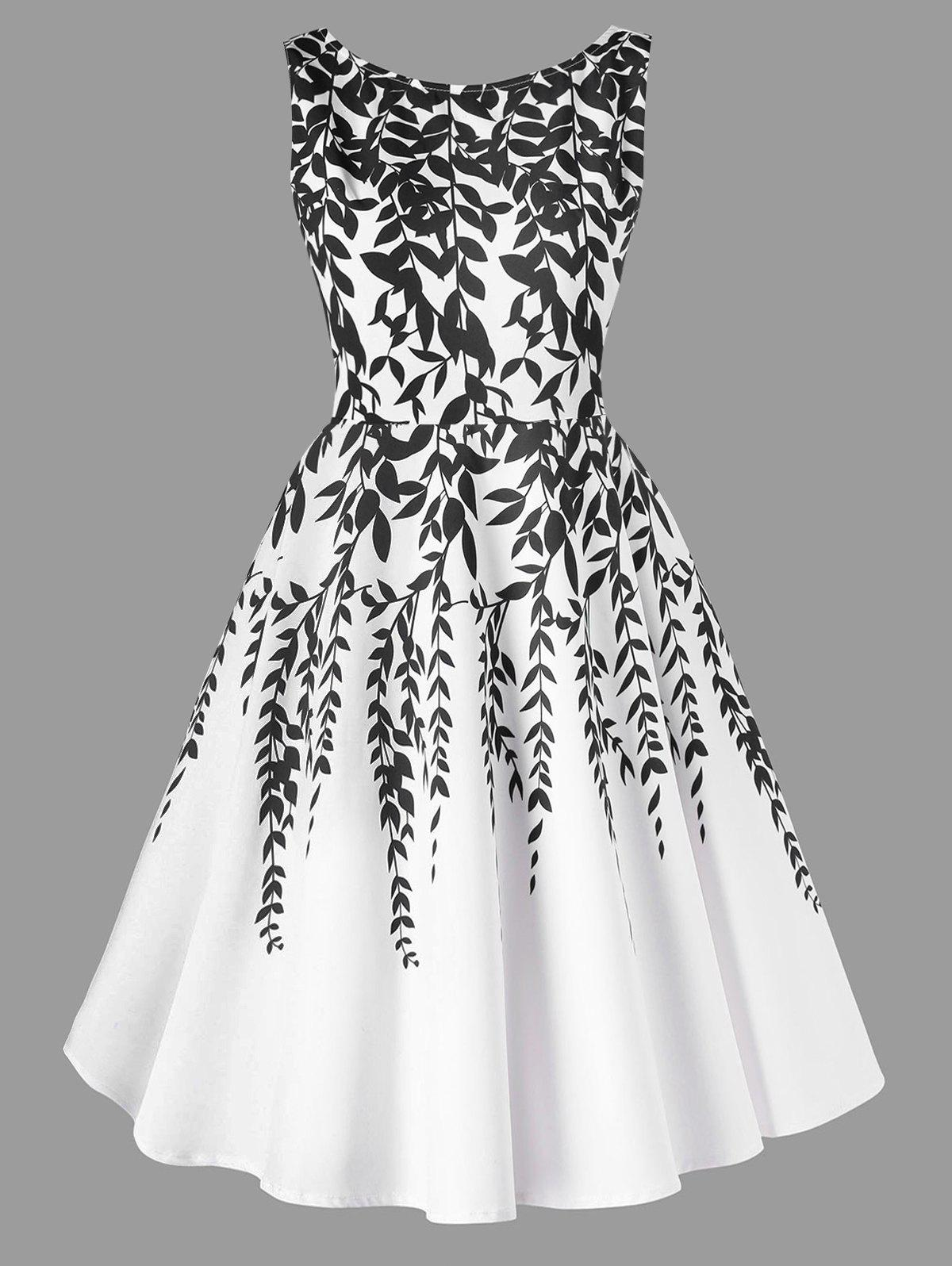 Salix Leaf Printed Sleeveless Flare Dress - WHITE L