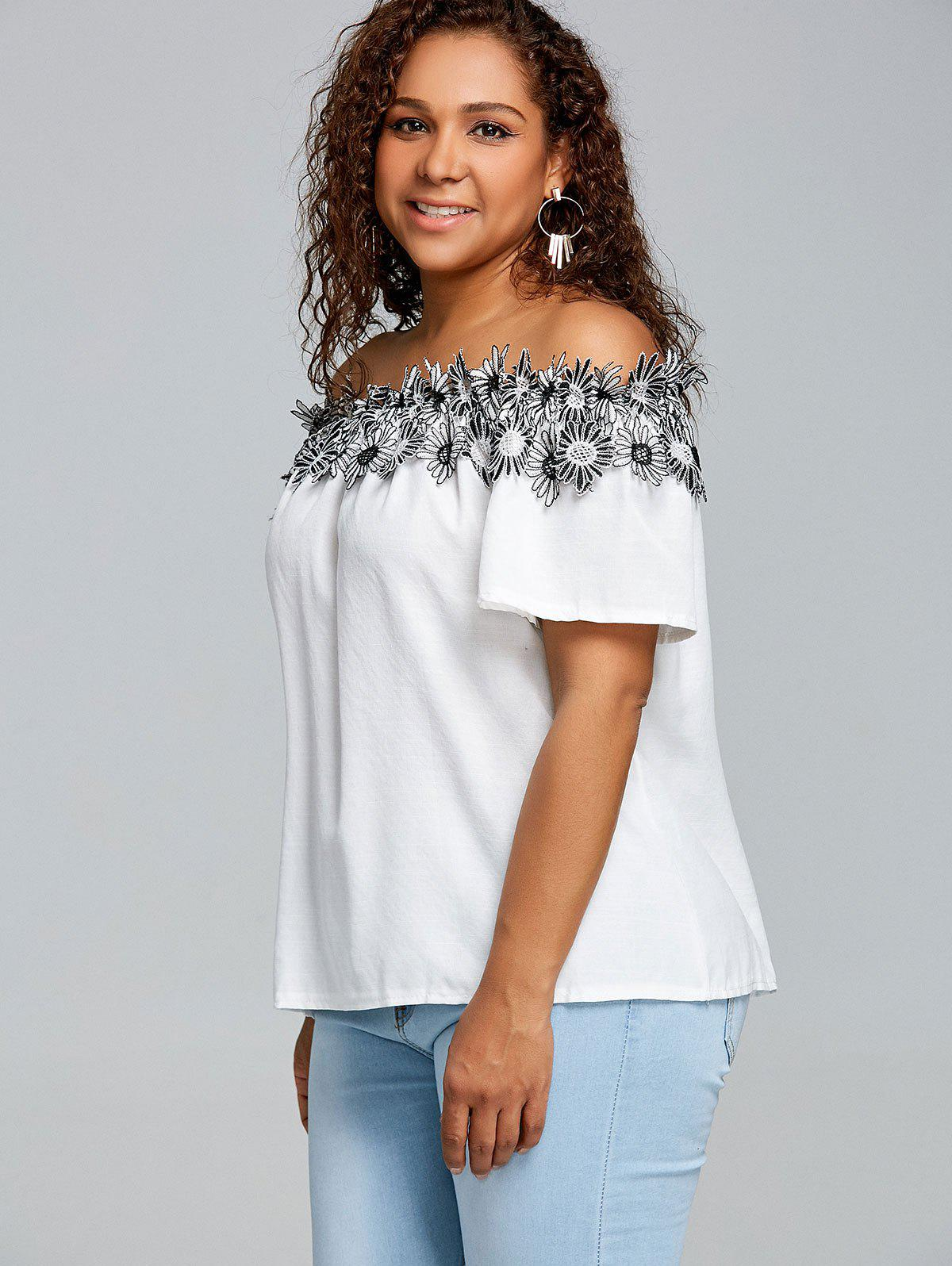Floral Applique Off The Shoulder Plus Size Blouse - WHITE 4XL
