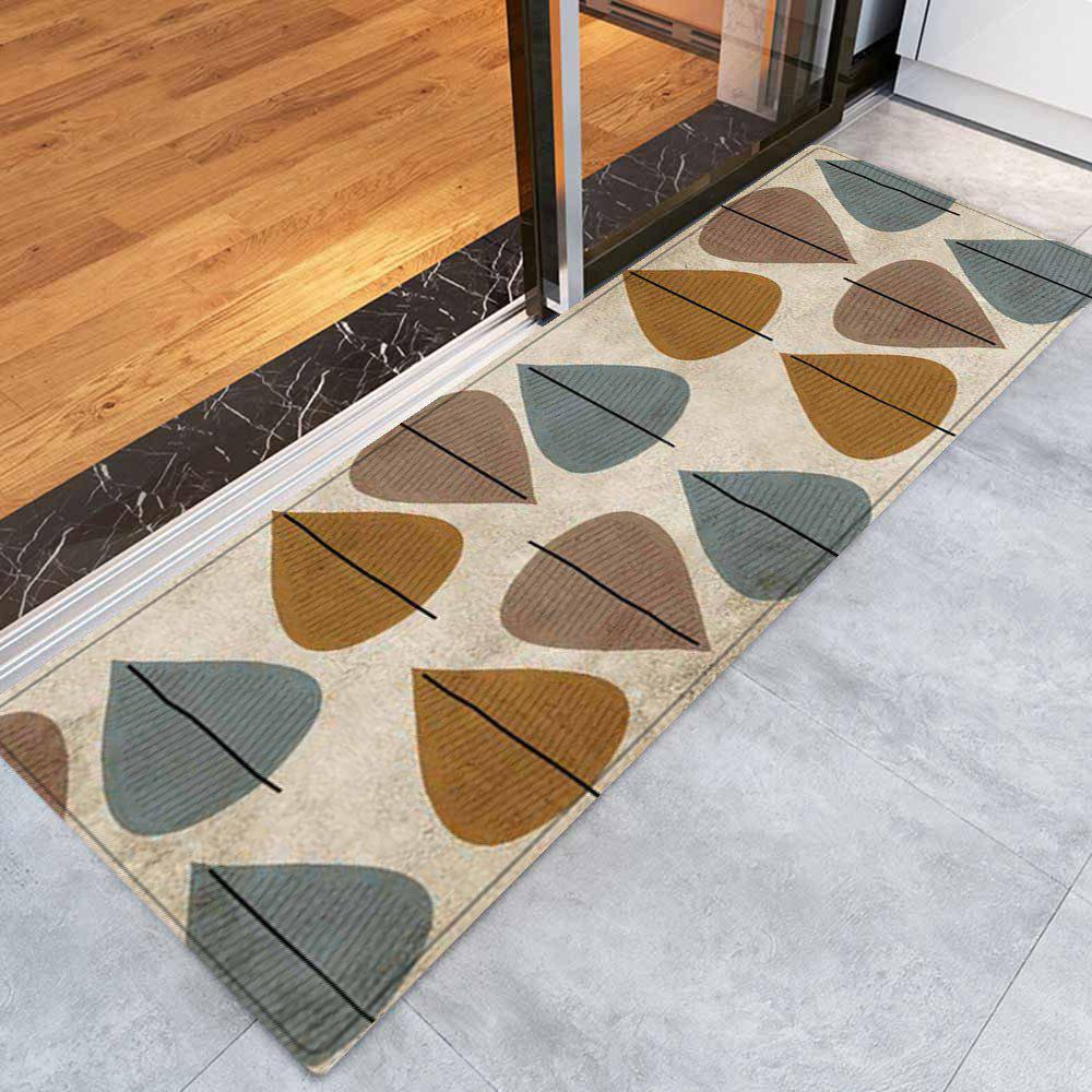 Leaf Pattern Anti-skid Water Absorption Area Rug - COLORMIX W16 INCH * L47 INCH