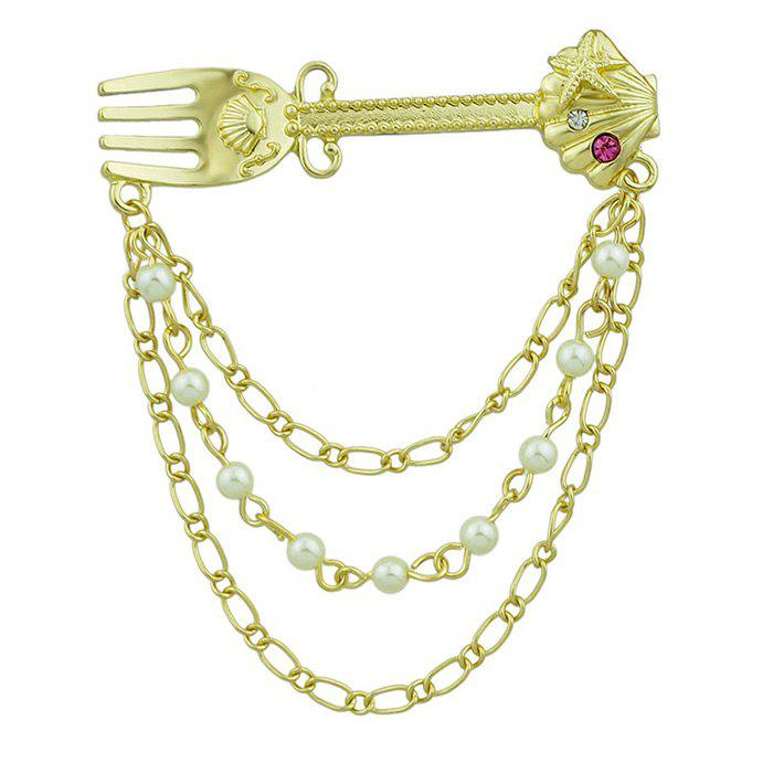 Faux Diamond Pearl Fork Shape Link Brooch - GOLDEN