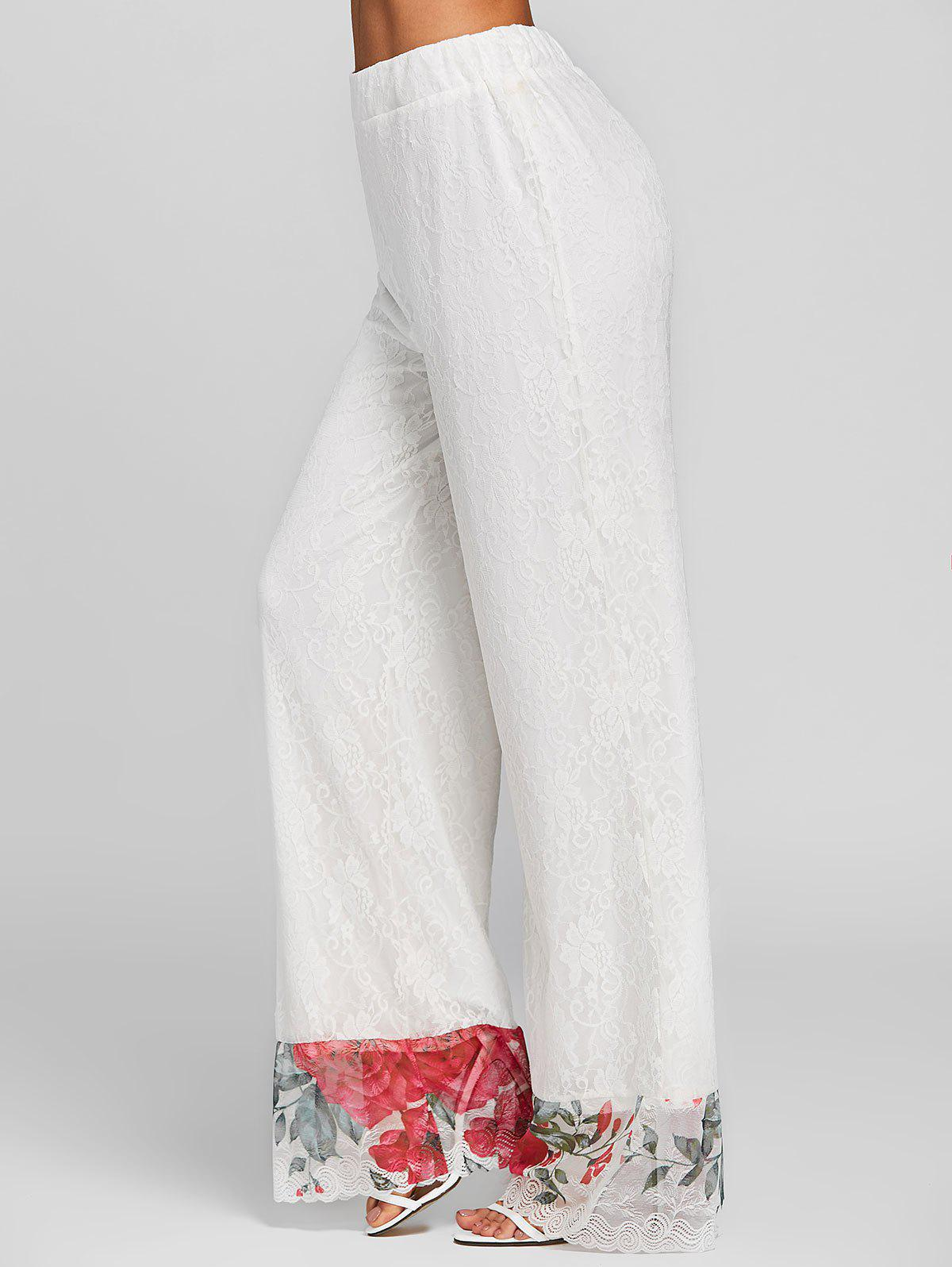 Floral Lace High Waisted Wide Leg Pants - WHITE L