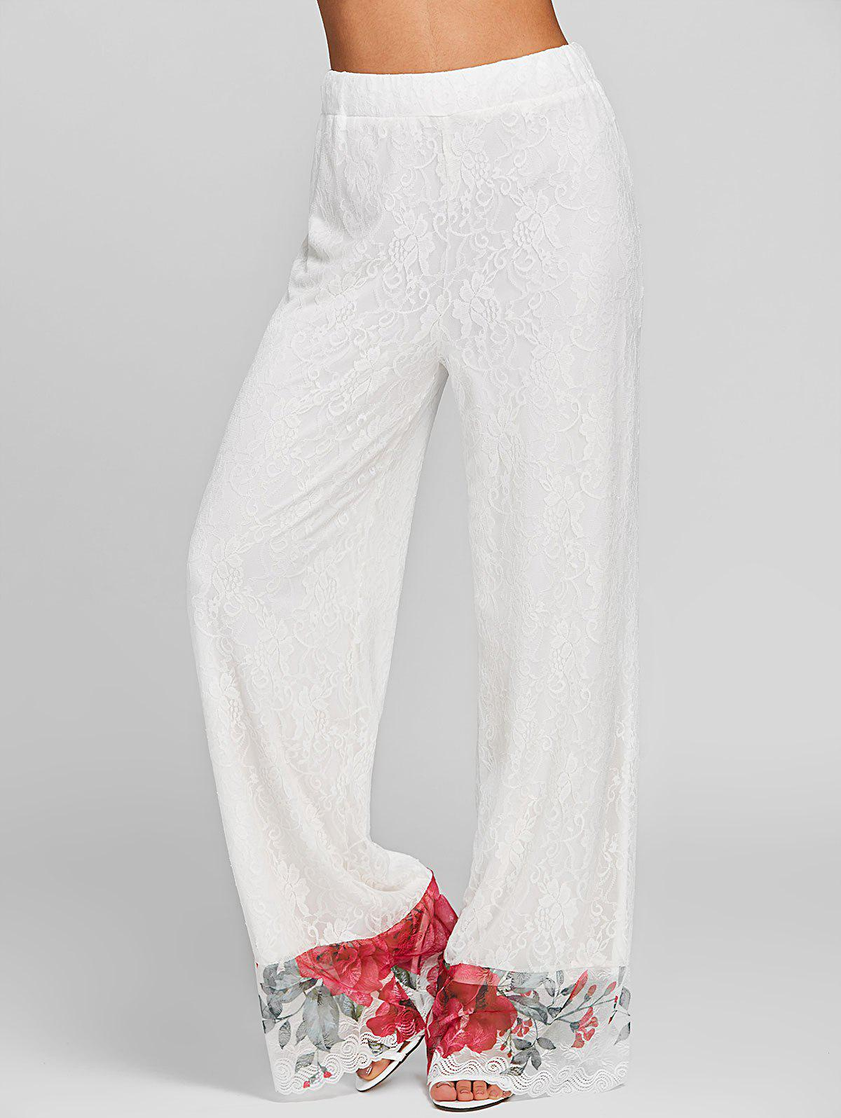 Floral Lace High Rise Wide Leg Pants - WHITE 2XL