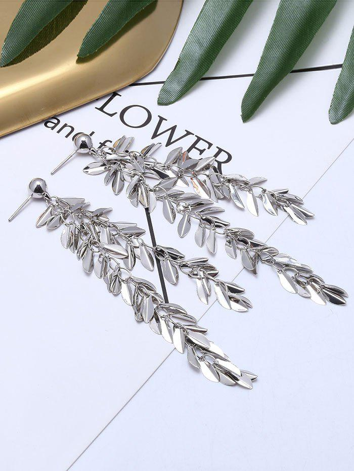 Metal Leaf Fringed Drop Earrings - SILVER