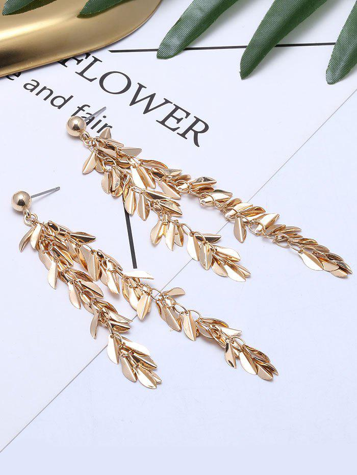 Metal Leaf Fringed Drop Earrings - GOLDEN