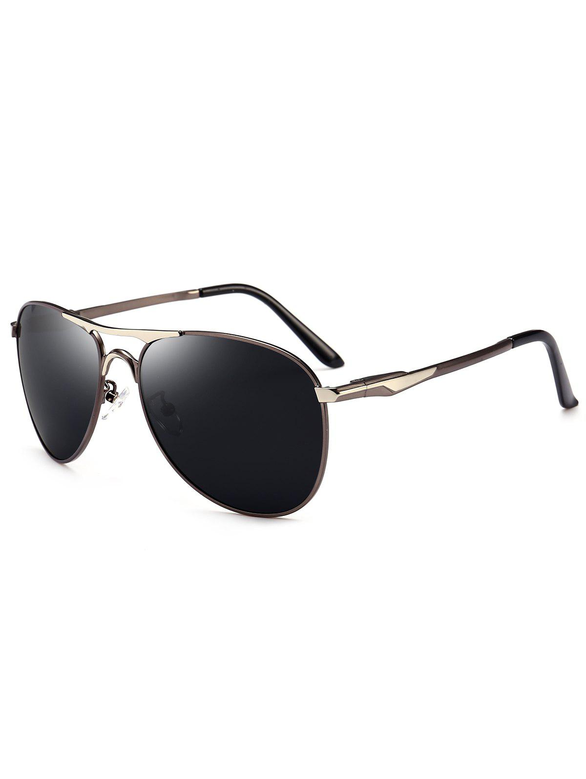 Full Frame Metallic Pilot Sunglasses - GUN GREY FRAME/GREY LENS
