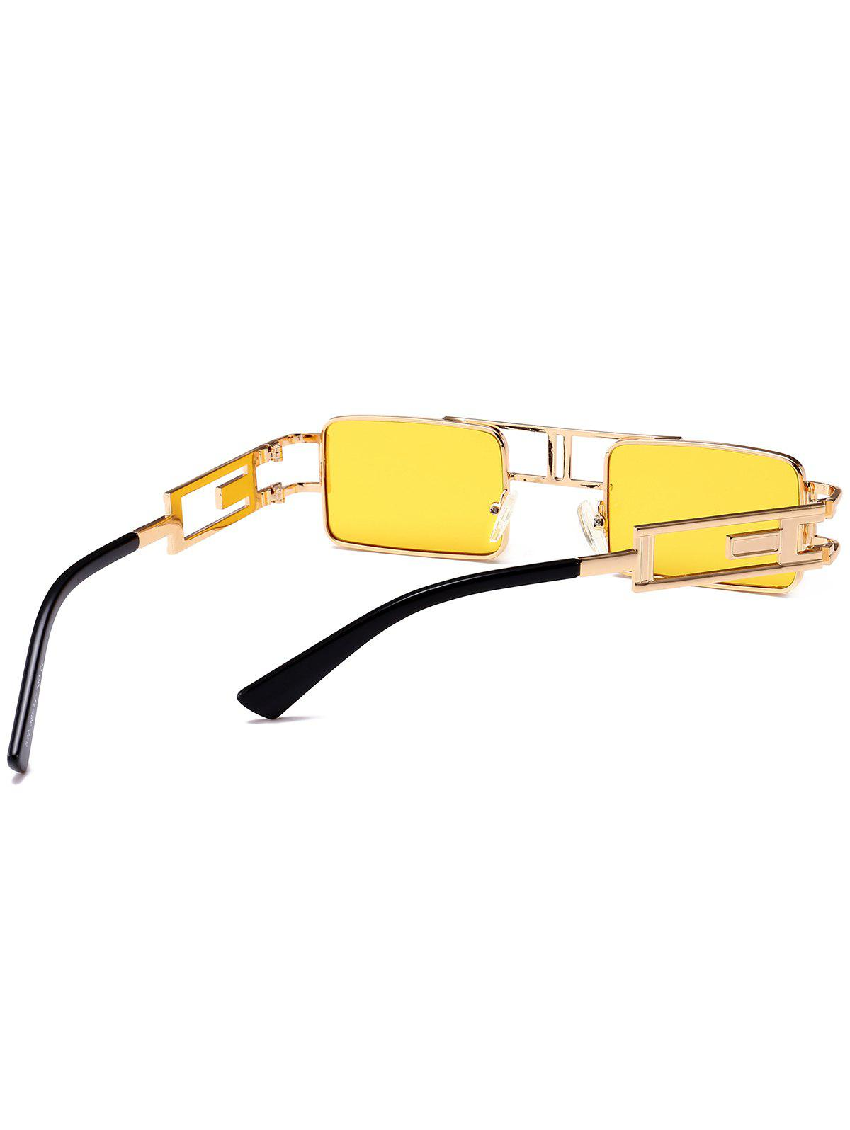 Cut Out Carver Frame Square Sunglasses - YELLOW