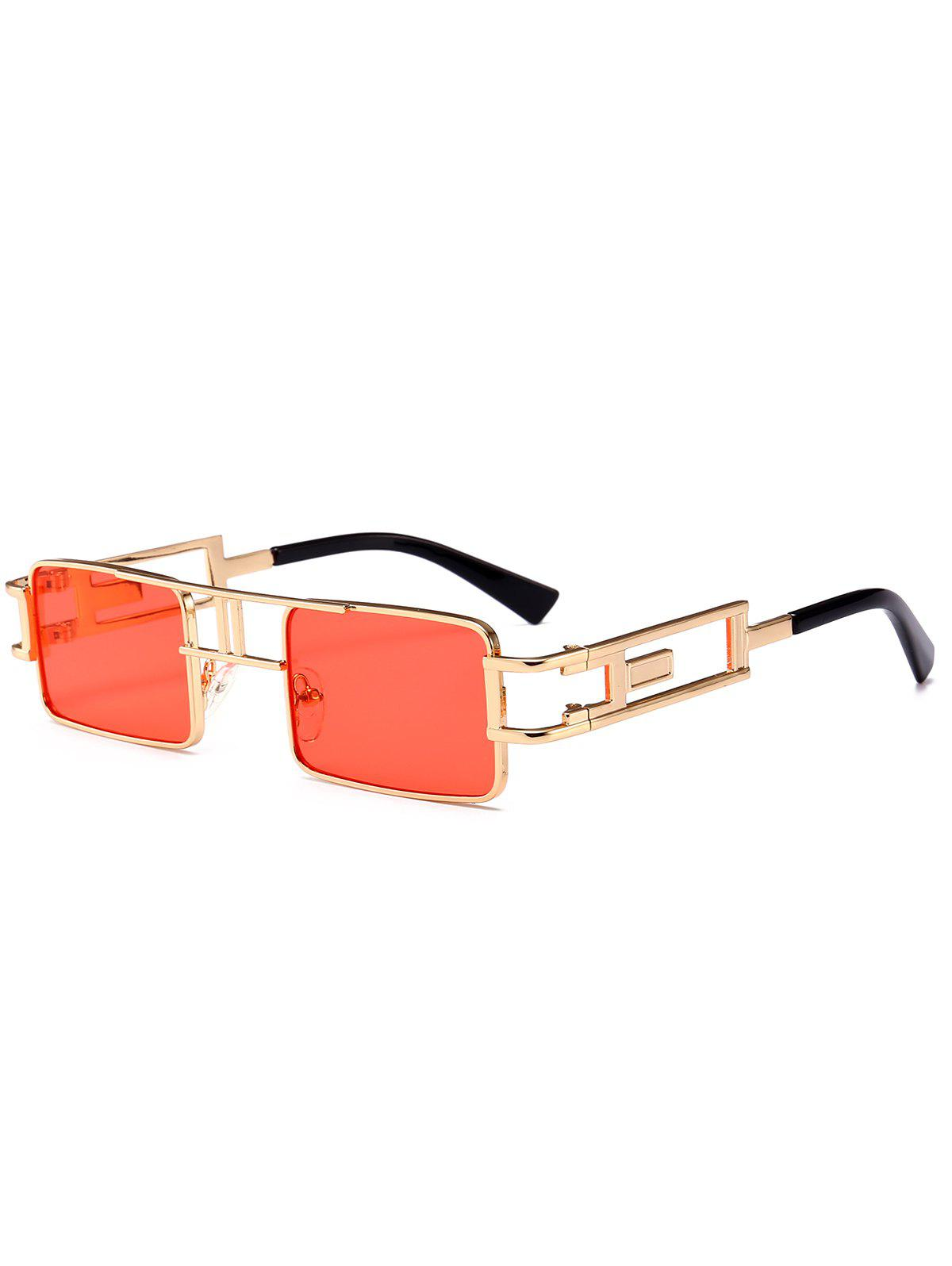 Cut Out Carver Frame Square Sunglasses - THROUGH RED