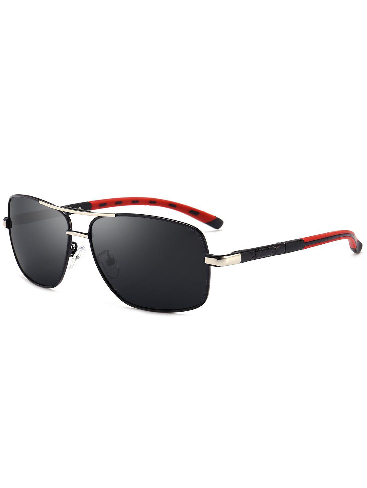 Square Pilot Sunglasses Two Tones Leg - BLACK/GREY